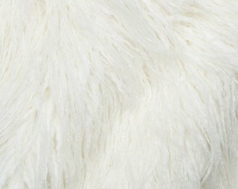 Fake Faux Fur Curly Yak White 58 Inch Wide Fabric by the Yard, 1 yard