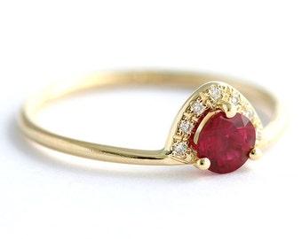 Ruby Engagement Ring, Ruby & Diamond Ring, Alternative Engagement Ring, Half Carat Ruby, Gold Ruby Ring, Red Gemstone Engagement Ring