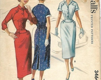 ON SALE McCall's 3464 Misses Dress Pattern, Stitching & Button Detail, Size 16, Bust 34