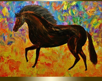 Oil Painting Horse Portrait,palette knife.