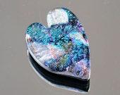 Heart Cabochon, Dichroic Cabochon, Glass Cabochon, 22 mm x 30 mm