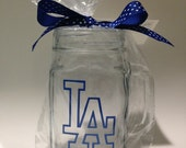 Los Angeles Dodgers Clear 16 oz. Glass Mason Jar Beer Mug Can Add Personalized Name