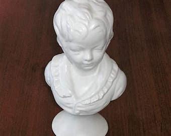 Vintage White Porcelain Child Boy Bust