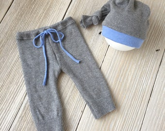Newborn Boy Photo Prop Pants and Hat Set, Gray and Blue - Ready to Ship