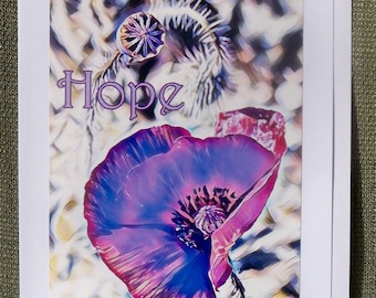 Hope Purple Poppy Insprirational Greeting Card 5x7