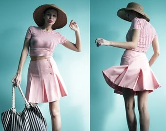 Vintage baby pink thin wool wrap around high waist pleated short mini skirt S