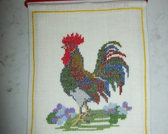 Vintage Swedish hand embroidered Easter tapestry -  Rooster in cross stitch