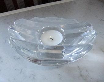 Vintage Swedish rare Orrefors crystal tea light - Tokyo - Martti Rykönen design