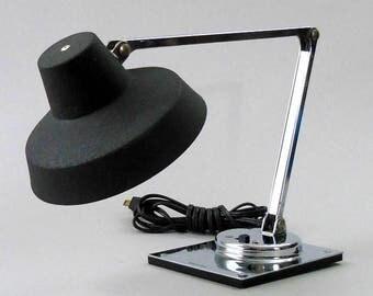 Vtg 70s TENSOR LAMP Chrome Black Jay Monroe Design IL 400 Mid Century Modern High Intensity Desk Reading Task Light Eames Retro ExCond Tight