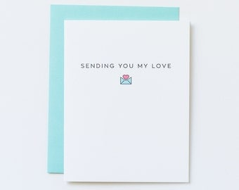 Sending You Love Card, Sending My Love Card, Miss You Card, College Bound Card, Back to School, Long Distance Card, Long Distance Love Card