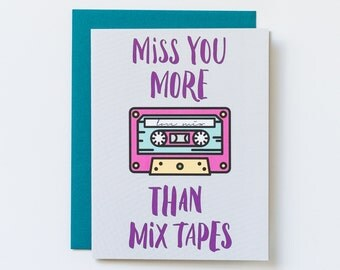 Miss you card, long distance card, mix tape card, retro card, Valentine's Day card, romance card, card for her, card for him