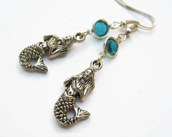 Mermaid Birthstone Earrings, Mermaid Charm Earrings, Personalized Swarovski Crystal, Beach Earrings, Ocean Jewelry Gift,  READY To SHIP