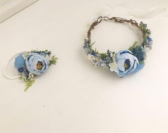 Flower crown-Well Dressed Wolf Blue Sue Sue- Blue Flower crown- Well dressed wolf- Floral crown- Bridal Crown- Flower Girl-