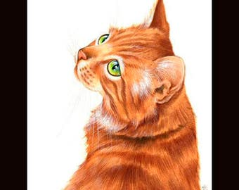 Ginger Cat Print Glance Back by Irina Garmashova