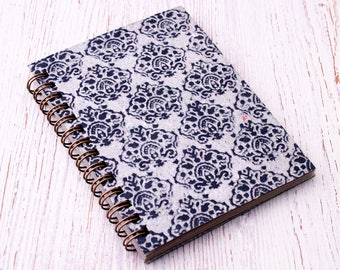 Small black notebook spiral bound embossed / mini notebook / pocket notebook / blank notebook / recycled notebook / notepad / mens notebook