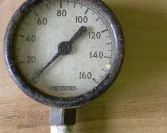 Vintage Rare Old Style Black GLASS LENS Pressure Gauge Industrial Steam Punk, Made Well All Original As Found