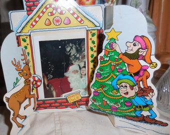 Vintage  Child And Santa Photo in Trifold Frame Stand up.....Vintage Xmas Santa and Me Photos  / Vintage Pop Out Photos  1950's