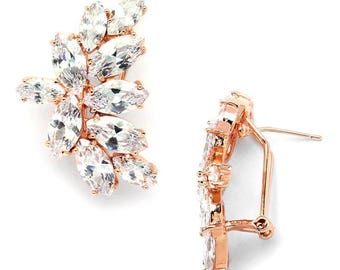 Rose Gold Cluster Earrings with Cubic Zirconia FREE DOMESTIC SHIPPING