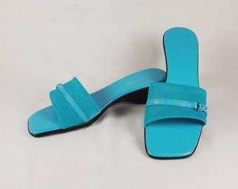 MARIPE' Turquoise Slides US Size 7 Medium 7 M