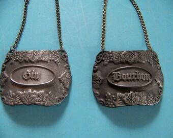 "REDUCED 2 Vintage Bacchus Pewter Deanter Labels ""Bourbon"" & ""Gin"""
