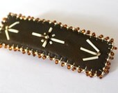 Porcupine Quill Leather Beaded Barrette