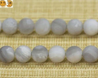 15 inch strand of White Crazy Lace Agate matte round beads 6mm 8mm 10mm & 12mm for choose