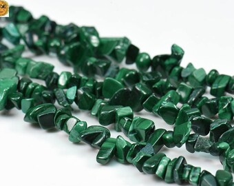 35 inch strand of natural malachite chips 5-10mm