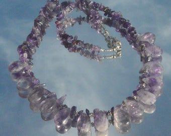 Gemstone Amethyst Necklace Solid Sterling Silver 925 Bali Beads Fringe Bullet Teardrop Purple,Punk,Handmade,Cleopatra,Rocker,Artisan,OOAK