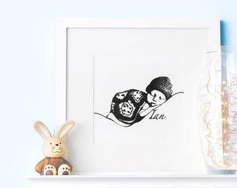 Custom Baby Portrait, Baby Nursery Decor, Baby Art, Custom Baby Gift, Gift for New Parents Personalized Baby Gift Baby Keepsake Newborn Gift