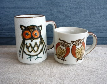 Set of 2 Vintage Ceramic Coffee Mugs, Retro Owl Mug, Cabin Decor