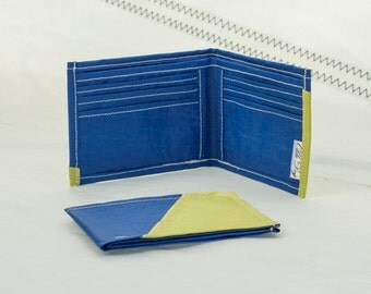 Spinnaker Sails, Blue and Yellow, Recycled sail wallet, ultralight gear