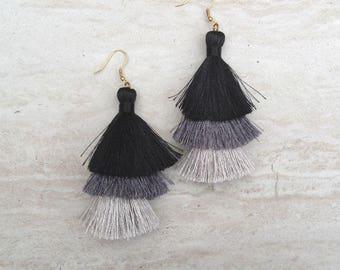Silk Tassel Stack Earrings Black Gray Ombre Combo Tassle Earrings Black Tassle Earings BOHO Earrings, Wholesale Jewelry Earrings Handmade