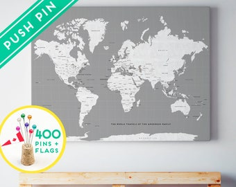 Custom Large World Map CANVAS Gray White - Personalized Gift - 240 Pins + 198 World Flag Sticker Pack Included