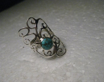 """Sterling Silver Long Turquoise Filigree Ring, size 7, 1-1/3"""" long. Scrolled."""