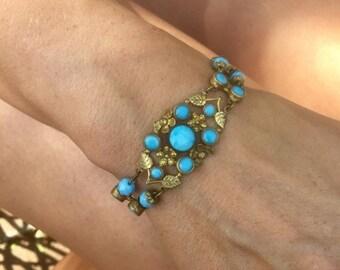 HOLIDAY SAVINGS Vintage Czech Bracelet 1920 1930 Romantic Fairytale Bridal Wedding Art Deco Turquoise Aqua Blue