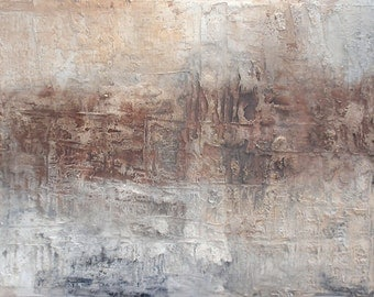 Original Abstract Art by Caroline Ashwood - Textured Gold and browns contemporary abstract painting on canvas - FREE SHIPPING