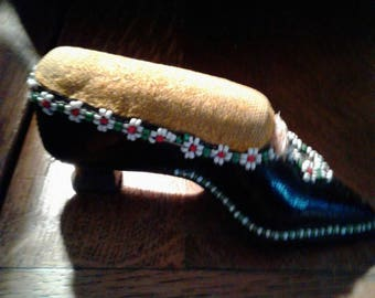 Victorian hand made folk art leather shoe pin cushion