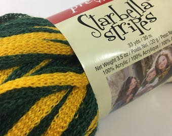 Starbella Stripes Premier Yarns Ruffle Lattice Green Gold Sports Packers Knit Crochet Discontinued Specialty Novelty Super Bulky