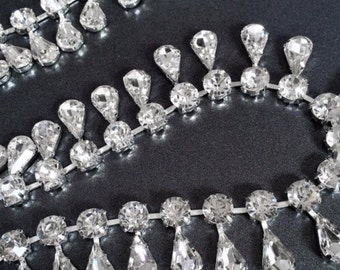 Rhinestone Trim - Rhinestone Chain - Rhinestone Trimming - Dangling Teardrop - By the Foot