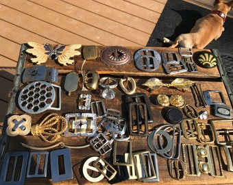 Lot of Vintage Belt Buckles of Various Materials and Styles