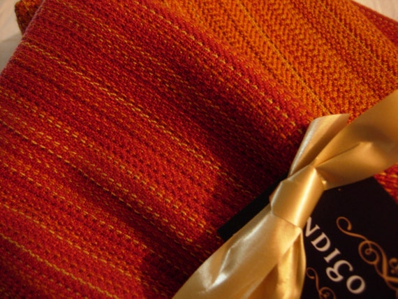 Handwoven Cotton Towel,Orange Sunset 22 x 32 inches hand-crafted in Canada retro classic bold elegant gift for Mom, housewarming, hand table