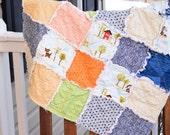 Baby Rag Quilt- Ready to ship Rag Quilt, baby shower gift, puppy rag quilt, baby boy rag quilt, blue rag quilt, orange rag quilt