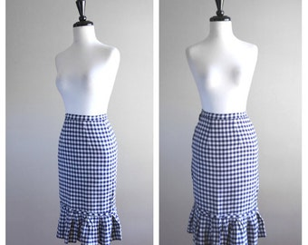 Darling Navy Blue & White Gingham Fitted Vintage Pencil Skirt / 1950s 1960s / Wiggle Skirt