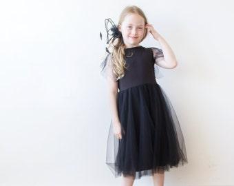 Black tulle Dress, Little black dress, Black flower girl dress 5024