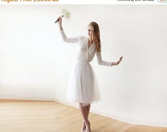 Spring Sale Ivory midi length tulle dress with long sleeves , Reception ivory tulle midi dress 1068