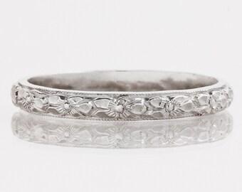 Antique Wedding Band - Antique Platinum Etched Floral Wedding Band