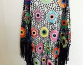 Colorful Crochet poncho Handmade 100% cotton-merserized