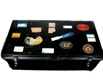 Vintage WWII Foot Locker Travel Trunk - Retro Foot Locker with Original Travel Labels, Mid Century Travel Stickers and Locker