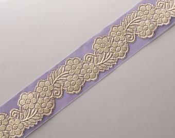 """Lavender Jacquard Organza Ribbon Trim Metallic Gold Flowers Sewing Craft DIY 1.5"""" wide 3 yards"""