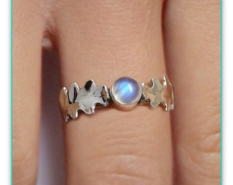 Oak Leaf Ring, Rainbow Moonstone Ring, Sterling Silver Ring, Woodland Jewelry, Custom Made
